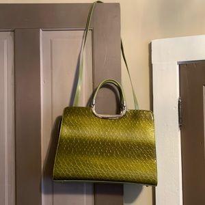 Green ombré faux snakeskin statement purse